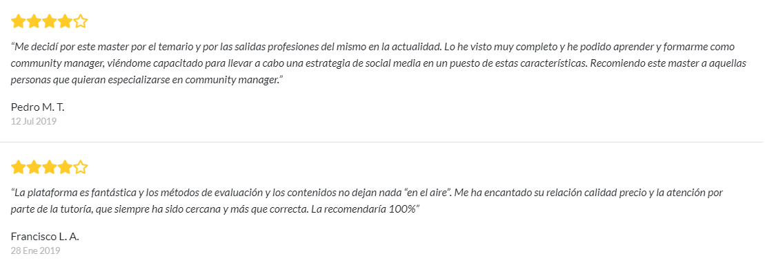 opiniones del master en maketint digital y social media
