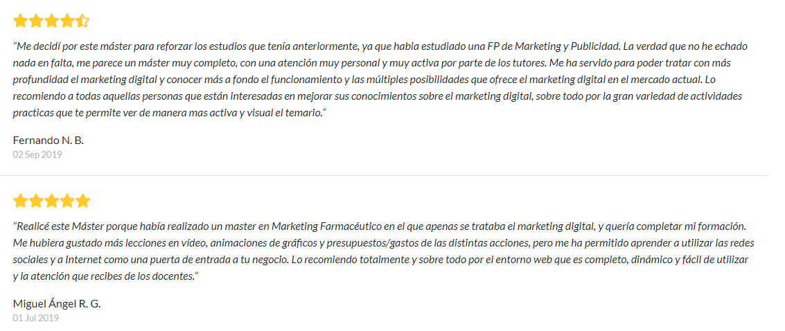opiniones del master en marketing digital